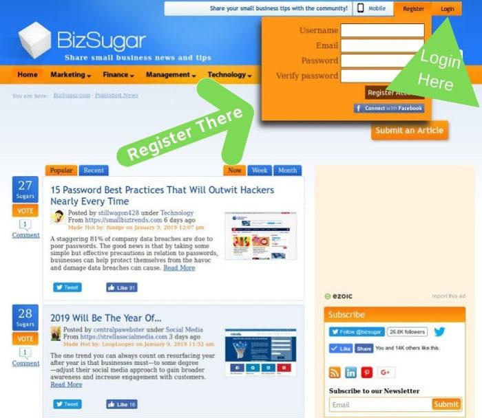 Register for or Login to BizSugar Sharing platform