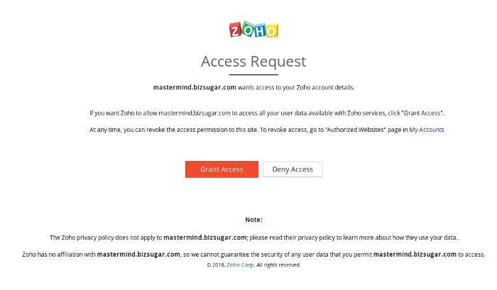 BizSugar Mastermind Zoho Access Request