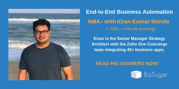 End-to-end Business Automation AMA with Kiran Kumar Shinde Zoho One