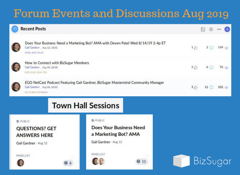 BizSugar Mastermind Forum Posts and Town Hall Events August 2019