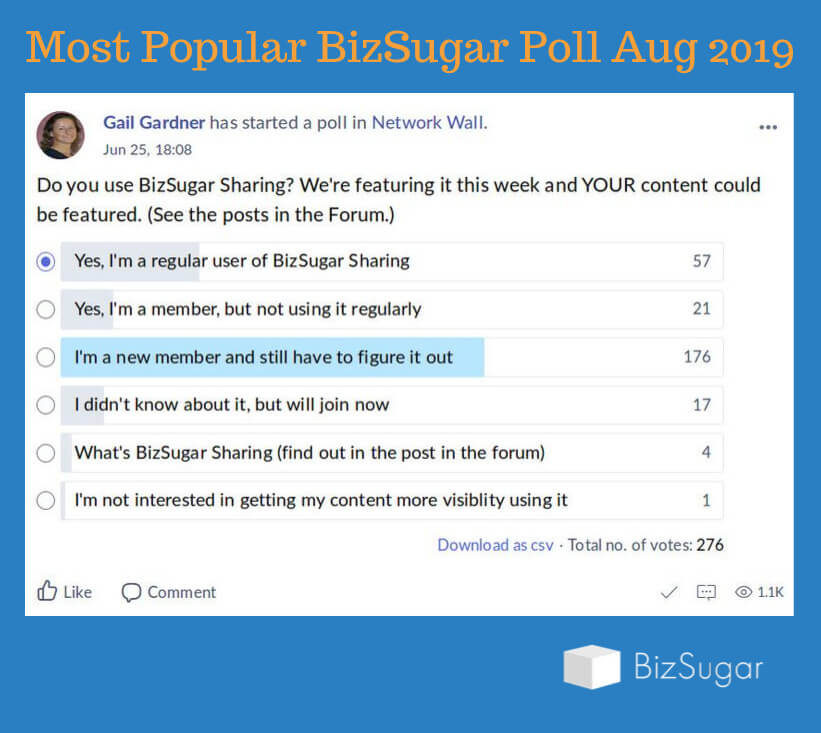 Most Popular BizSugar Mastermind Poll Aug 2019