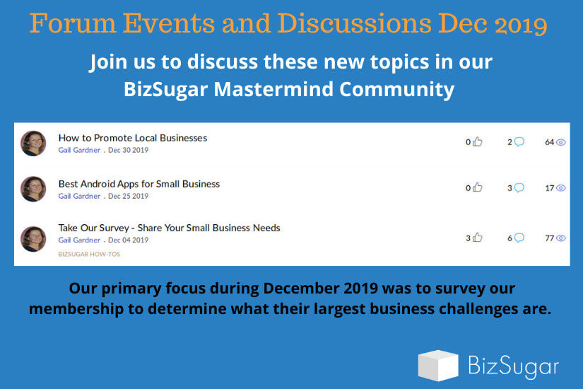 BizSugar Forum Activities Dec 2019