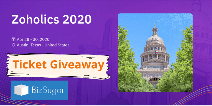Zoholics 2020 Austin Texas BizSugar Ticket Giveaway