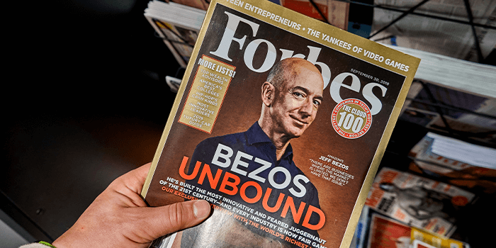 Forbes magazine cover with Jeff Bezos Unbound on it