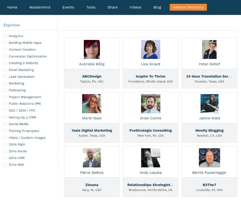 BizSugar Advisors Directory main page screen capture
